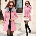 2016 winter fashion jacket women Espesar largo de lana abrigos Mujer Del estilo de Corea Delgado parka Desmontable cuello de piel chaquetas mujer