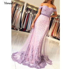 Pretty Lavender Pearls Lace Mermaid Evening Dresses Sweetheart Off Shoulder Beaded Long Prom Gowns Vestido Longo  1