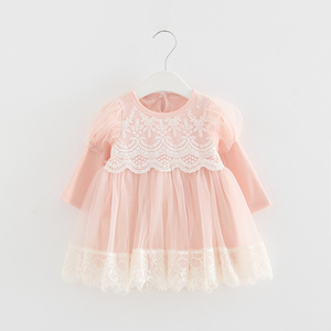 Image 1 - 2020 Spring Newborn Princess Baby Girls Dress Party Birthday Dress Lace Puff Sleeve Baptism Bow Tulle Wedding Dresses 0 2Y