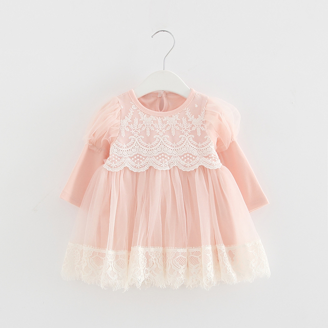 2020 Spring Newborn Princess Baby Girls Dress Party Birthday Dress Lace Puff Sleeve Baptism Bow Tulle Wedding Dresses 0 2Y