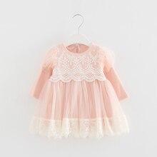2020 אביב יילוד נסיכת תינוק בנות שמלת מסיבת יום הולדת שמלת תחרה פאף שרוול טבילת Bow טול 0 2Y
