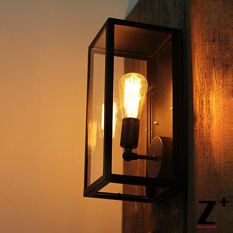 Industrial Style Glass Wall Lights : American Industrial Style Glass box Vintage Edison bulb Wall lamp E27 Free Shipping wall sconce ...