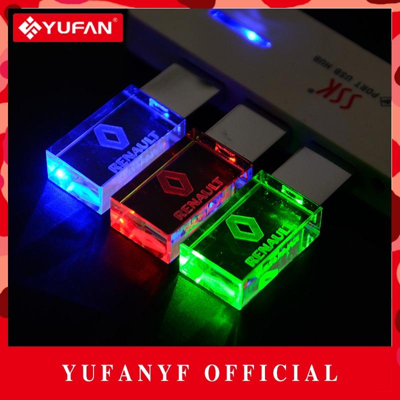 YUFANYF 2017 pendrive 3 colors Red blue green LED Renault car LOGO font b USB b