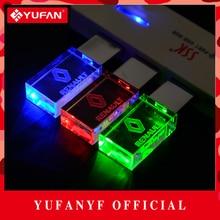 YUFANYF 2017 pendrive 3 colors Red / blue / green LED Renault car LOGO USB falsh drive 4GB 8GB 16GB 32GB U Disk crystal gift