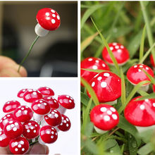 10Pcs 2cm Artificial Mini Mushroom Miniatures Fairy Garden Moss Terrarium Resin Crafts Decorations Stakes Craft(China)