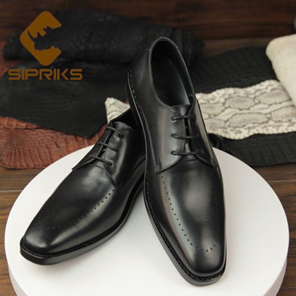 Puntera Genuino Zapatos Negro Sipriks Goodyear Sociales Cordones Elegantes Para Jefe Cuadrada Hombre Vestir Becerro De Negros Con Cuero Negocios qSwprX7dw
