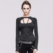 Devil Fashion Punk Gothic Women Cotton Long Sleeve T-shirts Steampunk Sexy Backless Lace-up Tee Shirt Tops