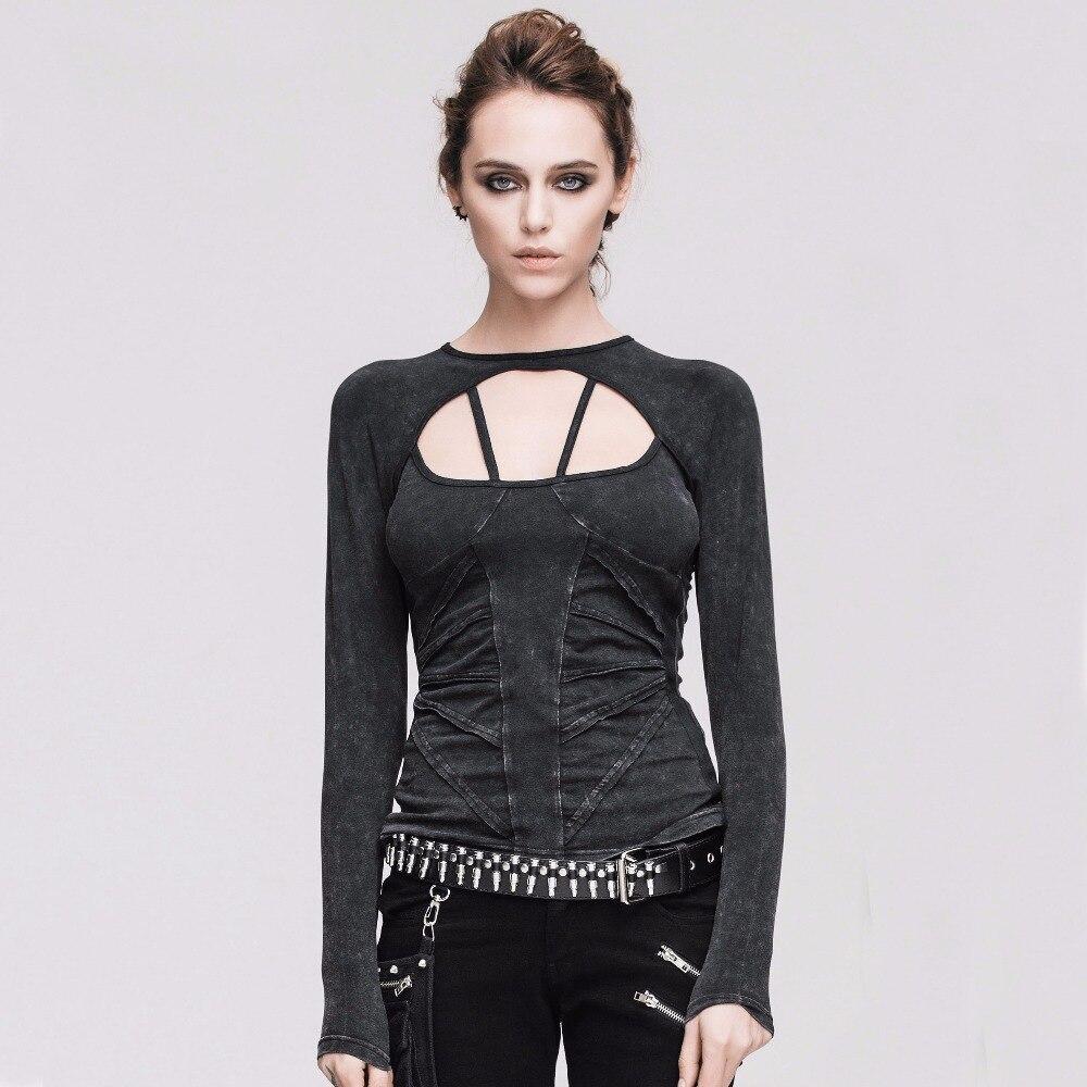 Diable mode Punk gothique femmes coton à manches longues T-shirts Steampunk Sexy dos nu à lacets t-shirt hauts