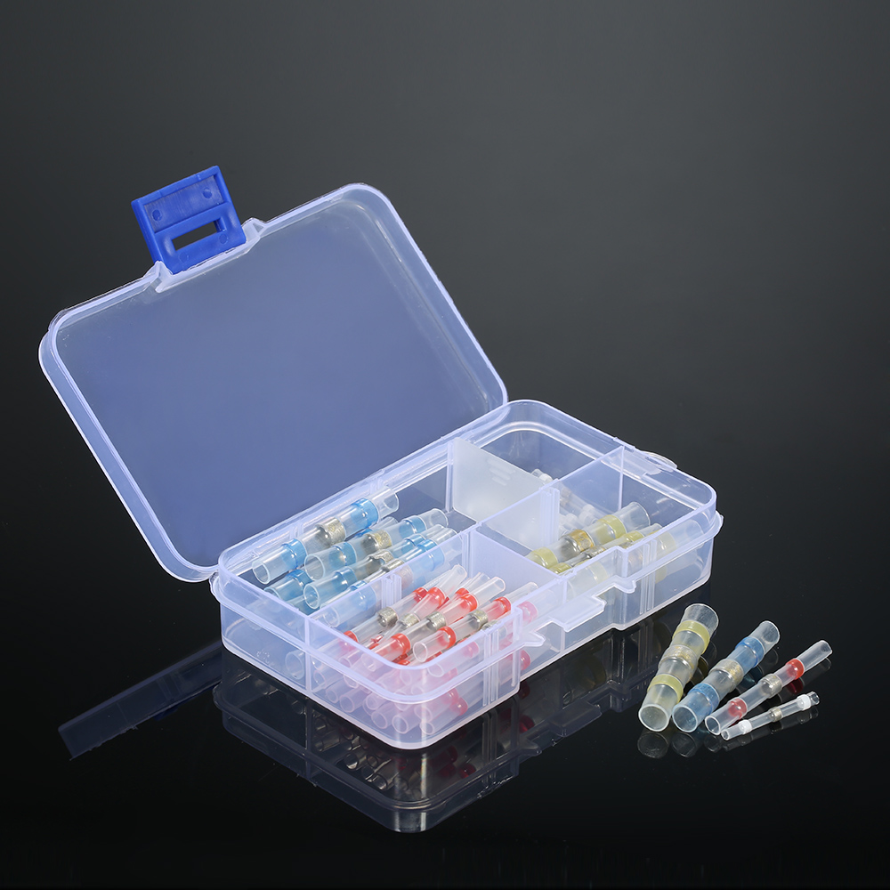 50PCS Solder Seal Wire Terminals Connectors Heat Shrink Butt Connector Terminals Electrical Waterproof Insulated with box 200pcs mixed heat shrink terminals solder sleeve tube electrical insulated butt connectors with box 16 14awg kit