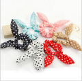 new korean cute dot rabbit bunny ears girls baby knotted hair ties elastic scrunchy rubber Scrunchie Ponytail Holder hairbands