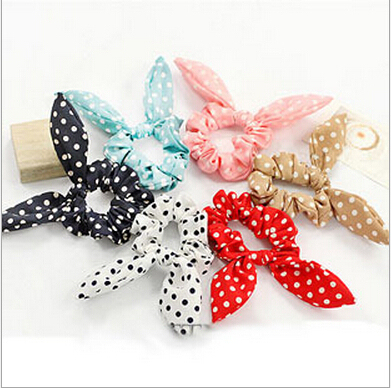 new korean cute dot rabbit bunny ears girls child knotted hair ties elastic  scrunchy rubber Scrunchie Ponytail Holder hairbands 15573e7173a