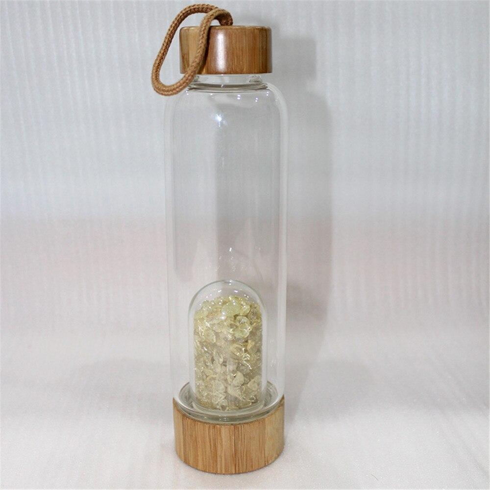 energia elixir beber garrafa água copo de vidro de bambu presente
