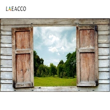 Laeacco Wooden Window Grassland View Nature Portrait Photography Backgrounds Customized Photographic Backdrops for Photo Studio