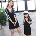 Famli 1 pc vestido de mãe e filha primavera outono mãe combinando vestidos de algodão roupas de bebê crianças menina casual listrado completo conjunto outfits
