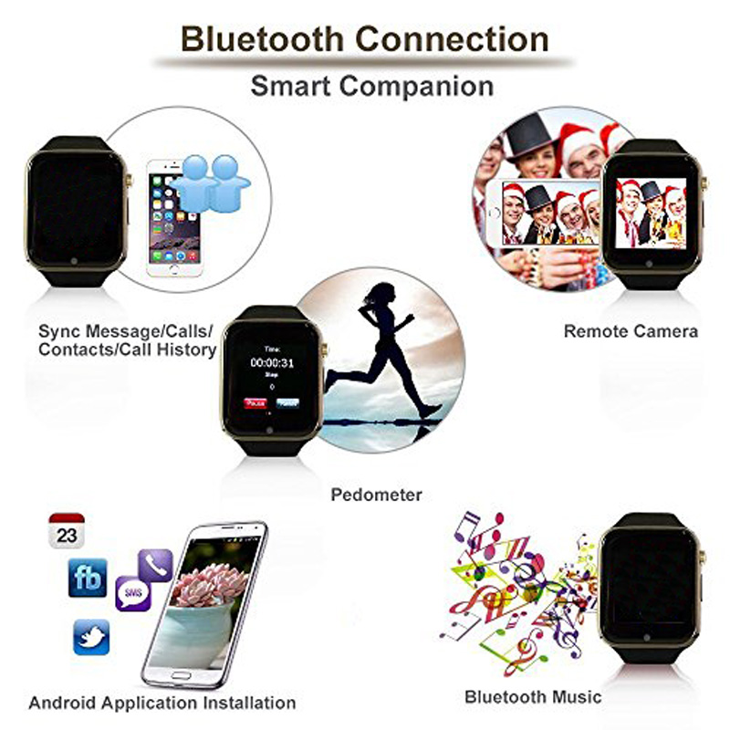 Bluetooth Smart Watches Android New Smartwatch with Camera Sport Pedometer Tracker Wearable Device Call for Android PK DZ09 GT08 (4)