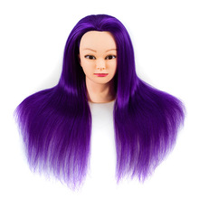 New Arrival Mannequin Head With Purple Hair Training For College Hairdressing