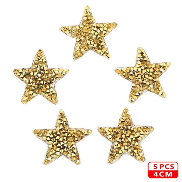 Стразы со звездами, смешанные размеры, нашивки, нашивки с вышивкой, термо-Стикеры для одежды, 5 видов цветов, блестки, нашивки для одежды, сделай сам - Цвет: 4cm Gold 5pcs