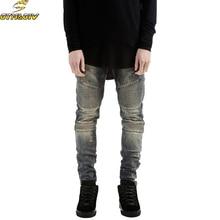 2018 Mens Skinny Jean Distressed Slim Elastic Jeans Denim Biker Jeans Hip hop Pants Washed Ripped Jeans плюс размер 28-42