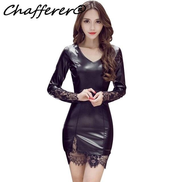 1491fc29cbd1 Chafferer 2017 Autumn Korean Ladies Sexy Lingerie Dresses Women's Fashion  Aesthetic Slim Packs Bbuttocks Lace Leather Pure Color