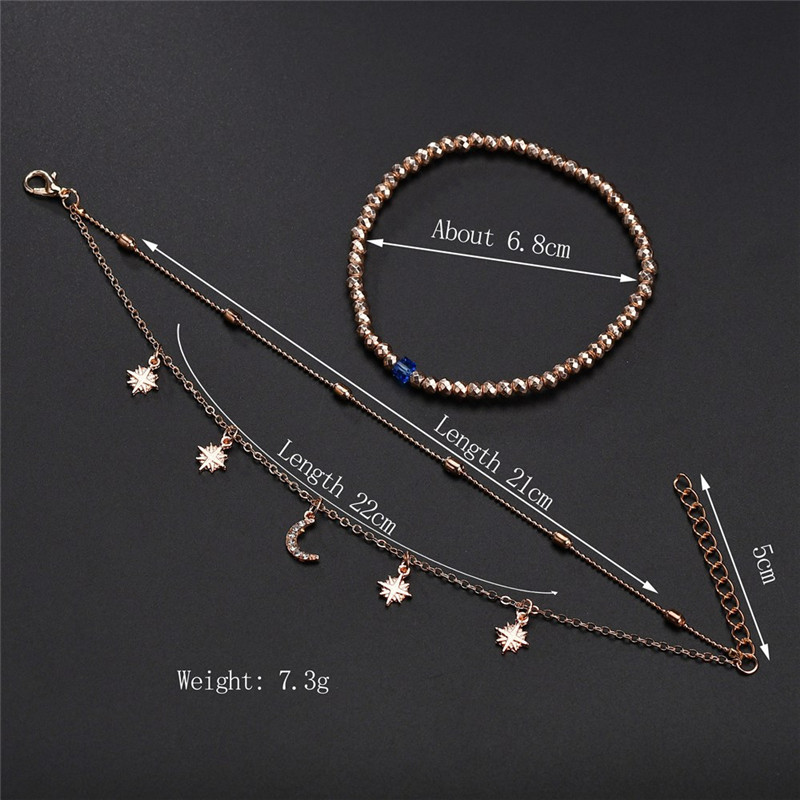 ZORCVENS 2020 Boho Style Star Moon Anklet Fashion Multilayer Foot Chain New Ankle Bracelet for Women Beach Accessories Gift 5