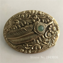 Retail New High Quality 3D Pattern Feathers Solid Brass Men Belt Buckle With 171g Oval Metal Cowboy Belt Head For 4cm Wide Belt high quality filament tape 4cm wide