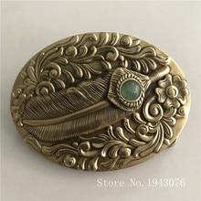 купить Retail New High Quality 3D Pattern Feathers Solid Brass Men Belt Buckle With 171g Oval Metal Cowboy Belt Head For 4cm Wide Belt дешево
