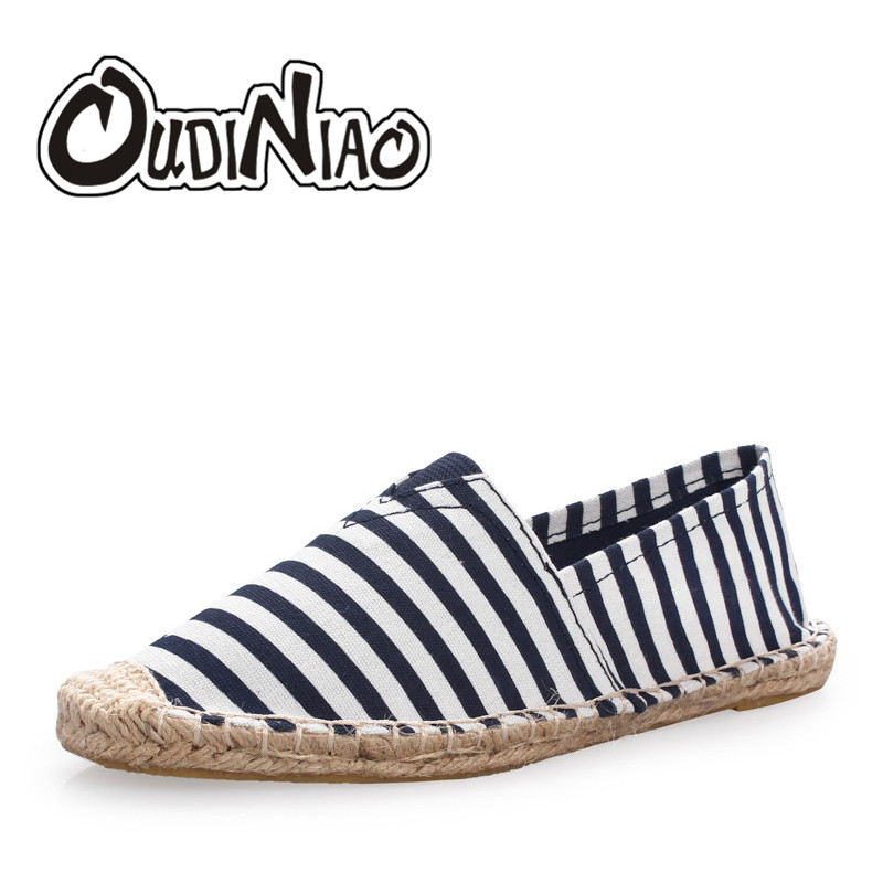 OUDINIAO Hemp Wrap Stripe Mens Shoes Spring Espadrilles Men 2019 Canvas Shoes Men Breathable Men's Loafers Casual Slip On(China)
