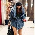 2016 otoño de las mujeres de moda Denim Jean Jacket Coats Mujeres Ocasionales los pantalones Vaqueros Chaquetas de la Capa ropa de Abrigo ropa suelta para Las Mujeres WX214