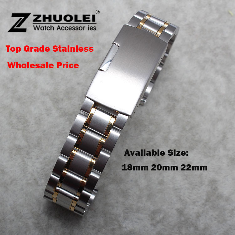 Womens Men Watch Band 18mm 19mm 20mm 21mm 22mm 24mm Buckle Silver With Gold Stainless Steel Watch Band Strap flat End Bracelet new mens rose gold watch band 16mm 18mm 20mm 22mm 24mm silver black stainless steel watch band strap straight end bracelet