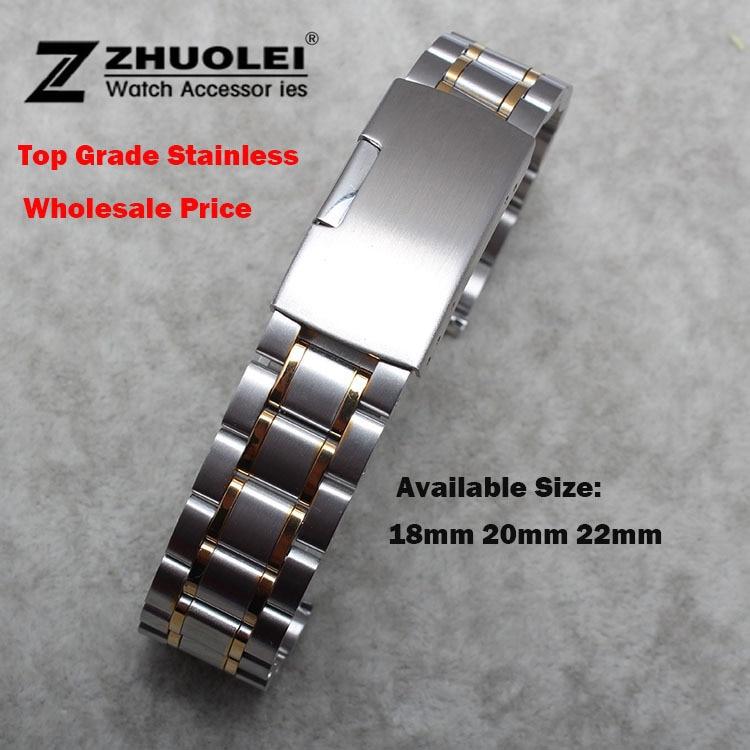 a9de88ebb8f3 Correa de reloj para mujer 18mm 19mm 20mm 21mm 22mm 24mm hebilla de plata  con oro Acero inoxidable correa de reloj pulsera de extremo plano