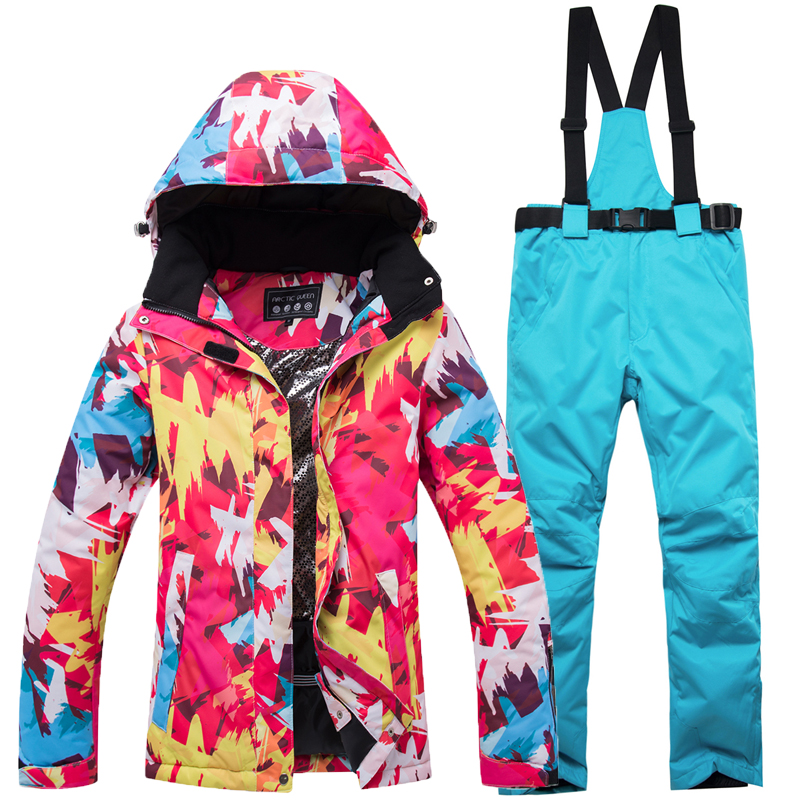 лучшая цена Jacket and Pants Womans Ski Clothing Free Shipping Warm Waterproof 2018 new Winter Womens Ski Suit Female Snowboard Suit Snow