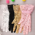 Новый солнцезащитный крем кружева короткий Солнцезащитный крем перчатки женские летние кружева вождение автомобиля солнцезащитный крем УФ-защитой перчатки сексуальные перчатки розовый белый