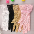 new sunscreen lace short Sun Block gloves women's summer lace car driving sunscreen UV protection gloves sexy glove pink white
