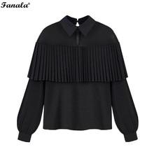 Autumn Blouse Women Shirt 2017 Fashion Blusas Sexy Chiffon Blouse Mesh Patchwork Pleated Ruffle Long Sleeve Women Blouses Tops