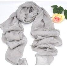 Bufanda de lino y algodón suave para mujer, hijab, musulmán, islámico, color gris, color sólido, talla grande, hermoso, Shaw, envío gratis