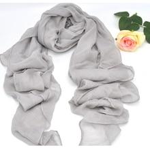 Écharpe hijab musulmane pour femmes, gris en coton et en lin, doux, écharpe islamique, solide, grande taille, belle, livraison gratuite