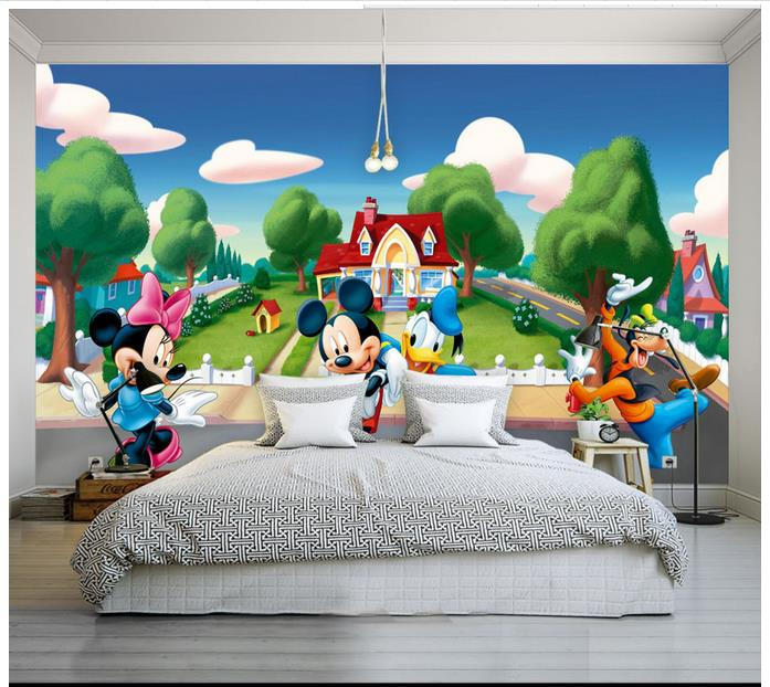 Custom 3d Wallpaper For Walls 3 D Wall Murals Wallpaper Mickey Mouse  Cartoon Woods Background Wall