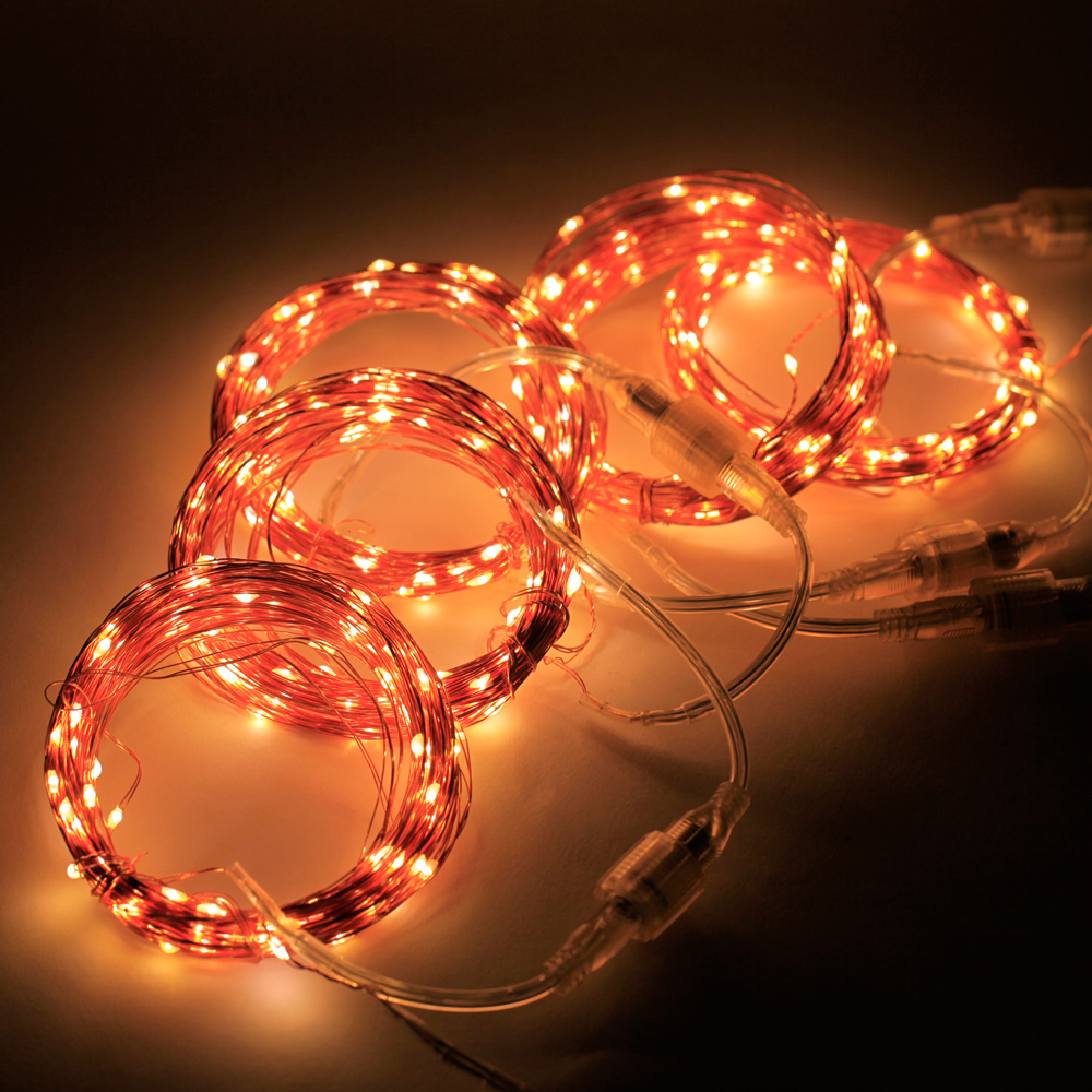 50M 164FT 500LEDs Connectable 5*10M 100LED Copper Wire Starry String Christmas Lights Decorative Fairy Lights with US Adapter 3 10m series and parallel 99ft 300 led waterproof warm white led string fairy starry light copper wire plug adapter powered