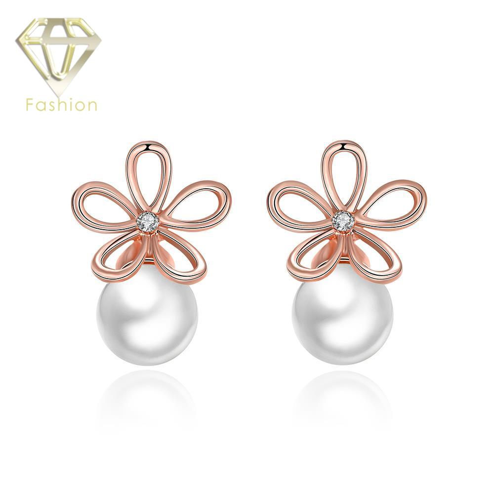 New Design Hollow Line Flower Rose Gold Color with Simulated Pearl