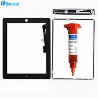 Netcosy For ipad 3 4 Touch glass Screen Digitizer Panel for iPad 3 4 TouchScreen & Touch tape & Frame Adhesive & 5ml UV glue