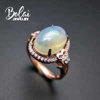 Bolaijewelry,natural big size ethiopian opal oval 10*14mm fire opal elegant gemstone ring 925 sterling silver women gift box