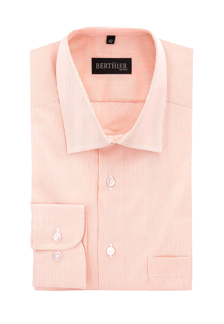 Shirt men's long sleeve BERTHIER SERGIO 60072 D Orange plus size bird and floral print v neck long sleeve t shirt