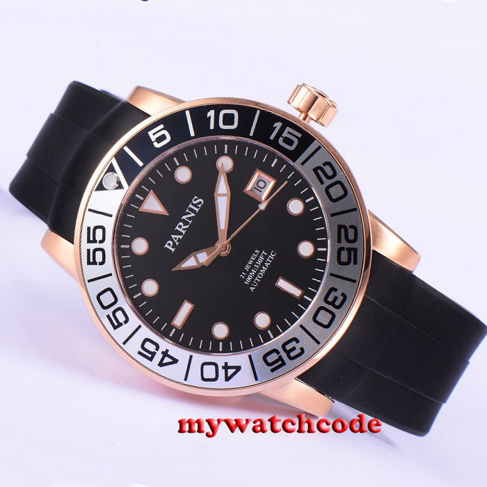 42mm Parnis black dial Sapphire glass 21 jewels Miyota automatic mens watch 601 цена и фото