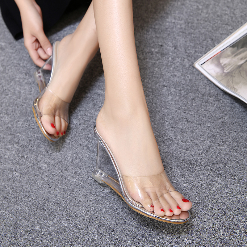 f229909b1b 2019 Jelly Sandals Open Toe High Heels Women Transparent Perspex Slippers Shoes  Wedge Heel Clear Sandals Plus Size 34 40 3008-in High Heels from Shoes on  ...