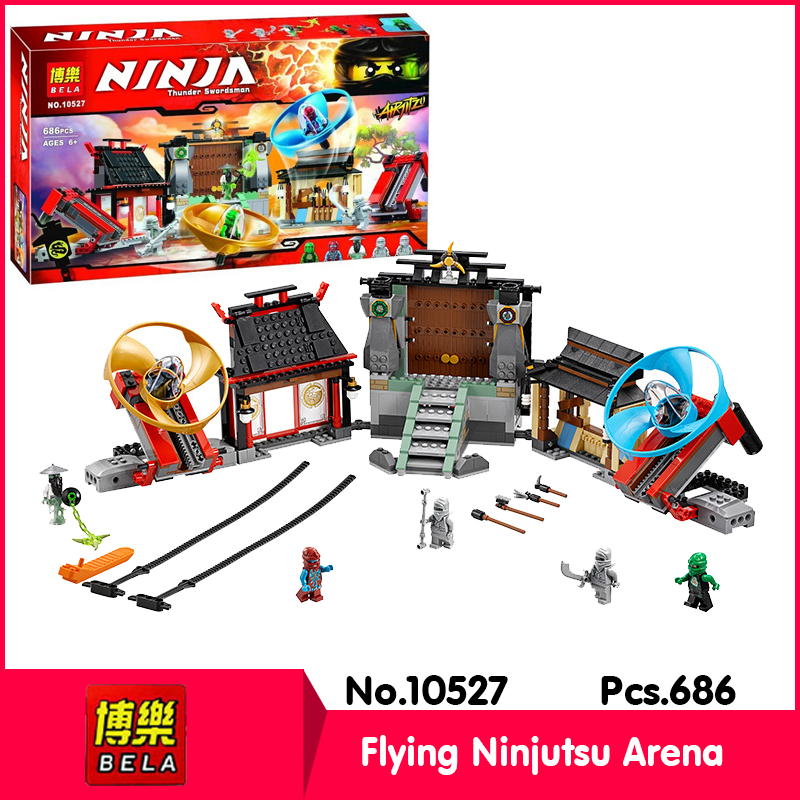 Bela 10527 686pcs Ninja Series Flying Ninjutsu Arena Model Building Blocks Set Bricks Toys Compatible  LEPIN 70590 Gift lepin 22001 pirate ship imperial warships model building block briks toys gift 1717pcs compatible legoed 10210