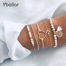 5pcs/Set Boho Women Pink Beaded Bracelet Set Heart Rope Anchor Chain Dreamcatcher Tassel Multilayer Bangles Girls Gift