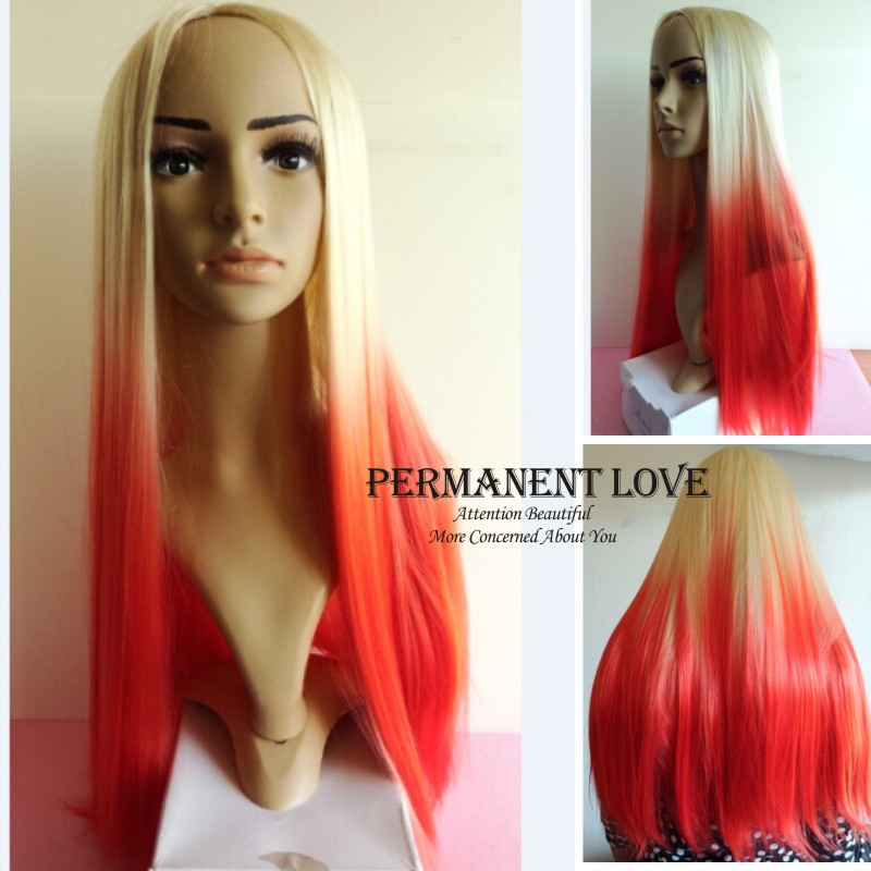 Cheap Synthetic hair ombre wigs white rooted red wigs long natural straight  cospaly Hair Wigs for Women girls harajuku wigs on Aliexpress.com  840bdcb133bb
