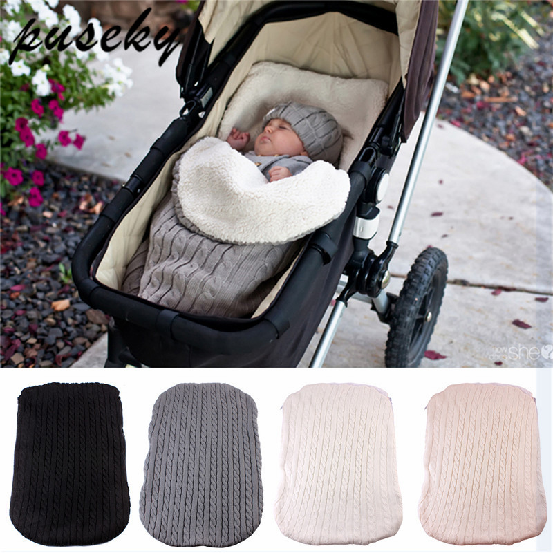 2018 Thick Baby Swaddle Wrap Knit Envelope Newborn Sleeping Bag Baby Warm Swaddling Blanket Infant Stroller Sleep Sack Footmuff warm baby stroller sleeping bag fleece prams footmuff infant swaddle wrap envelopes for newborns baby blanket 4 colors sleepsack