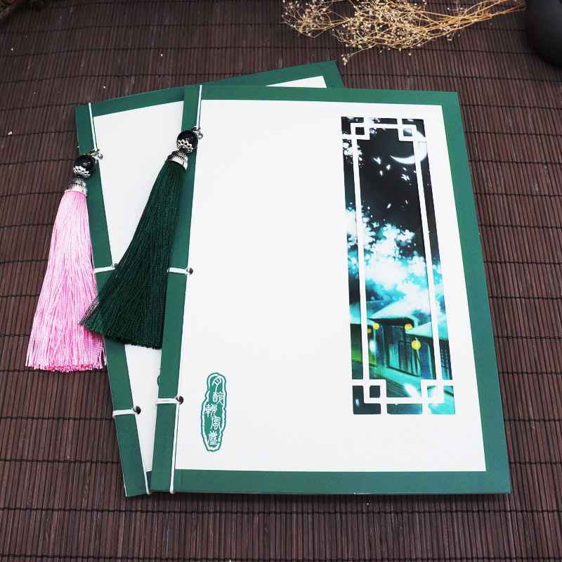 Original retro-ancient Chinese style thread book gift manual empty note diary tassel printing green notebook kraft paper notebook stationery creative retro ancient chinese fine exquisite gift diary note book wholesale memo pad n057