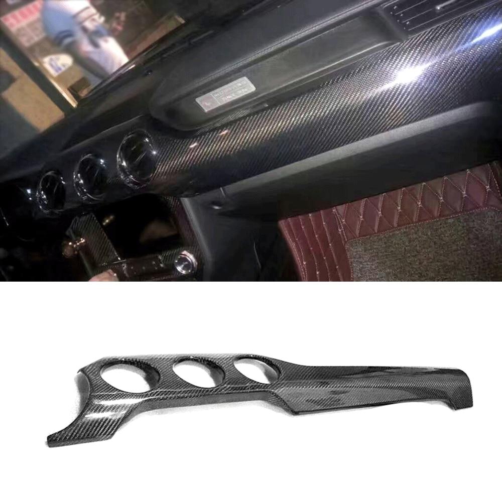 Couverture de barre de compteur de tableau de bord de voiture en Fiber de carbone véritable couverture de climatisation de contrôle Central pour Ford Mustang 2015-2017 garniture intérieure